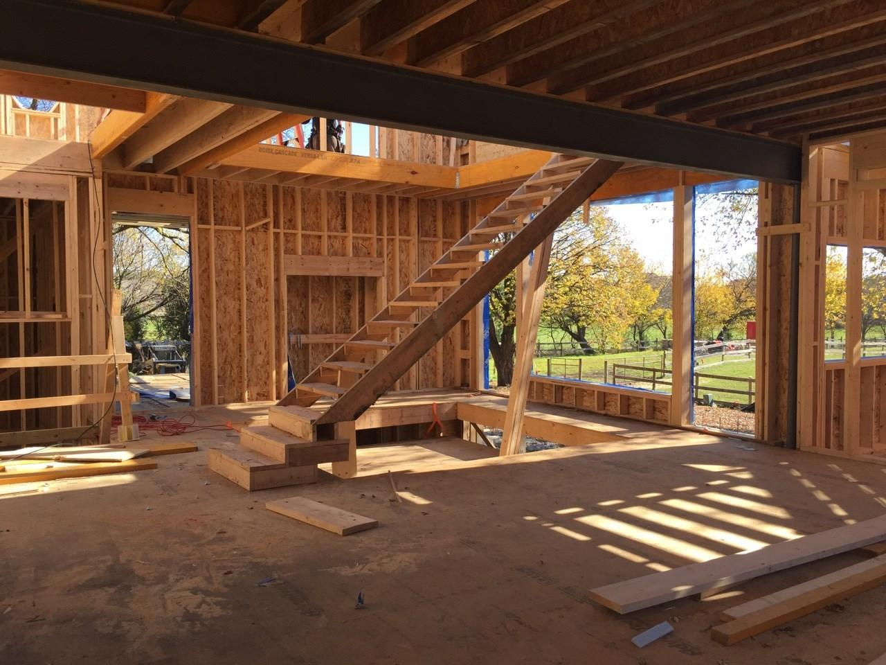 Framing Stage in Modern Farm House EcoSmart Home