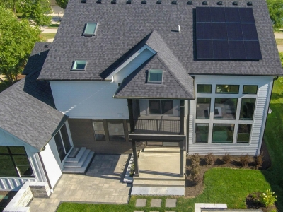 Birds Eye View Back Elevation with installed solar array - DJK Parker IV Eco-Smart Zero Energy Ready Model Home in Plainfield, IL