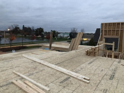 Framing Stage - 2nd Floor Deck With Advantech Subflooring.