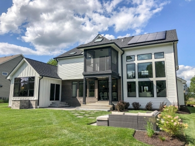 Back Elevation with installed solar array - DJK Parker IV Eco-Smart Zero Energy Ready Model Home in Plainfield, IL