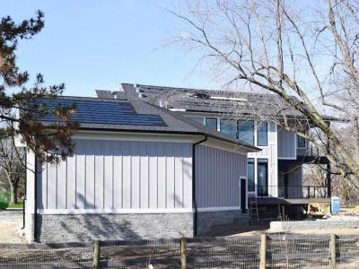 DJK Eco-Smart Home Hardie Siding And Stone Kneewall
